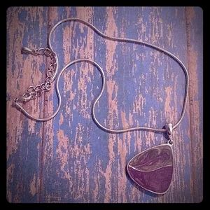 Silver Rope Triangle Enameled Pendant Necklace